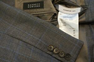 Barneys New York x Caruso Gray Blue Glenplaid  130s Wool Sport Coat Jacket 36S