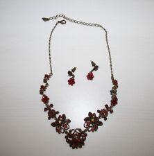 Hochwertiges Mode Schmuck Set Halskette Collier und Ohrringe Rubinen Optik