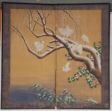 Beautiful Antique Original Two Panel Japanese Silk Screen - DELICATE & OLD PIECE