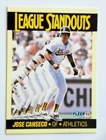 """Jose Canseco Fleer 1990 """"League Standouts"""" MLB Trading Card #54 Oakland A's"""