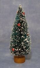 Snow Covered Christmas Tree with Tiny Red Baubles, Miniature, Xmas Tree