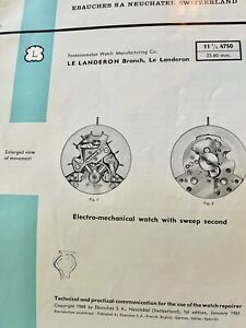 Electric electro-mechanical Landeron 4750 watch 1961 Parts Repair Guide 12 pages
