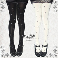 Harajuku Punk VTG Goth Lolita Cross Embroidery Velvet Tights Pantyhose Cute 80D
