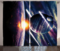 Galaxy Curtains Planet Earth Stardust Window Drapes 2 Panel Set 108x90 Inches