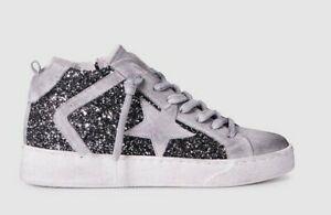 Zoe Kratmann DISTIL high tops, black glitter distressed white suede. size 39.