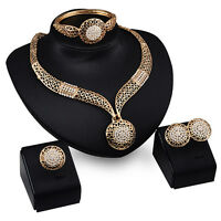 Women New Fashion Wedding Party Rhinestone Necklace Bracelet Ring Earrings Set