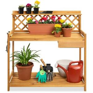 Outdoor Wooden Garden Potting Bench Workstation Table with Lower Storage Shelf