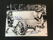 PHILADELPHIA FLYERS BERNIE PARENT BOBBY CLARKE AUTOGRAPHED 8X10 PHOTO  W/COA