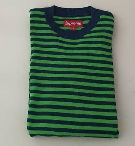 Rare OG Supreme Striped Sweater navy size L large vintage