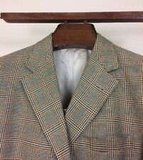 BURBERRY vintage silk wool plaid check sport coat jacket size 40 Short glen nova