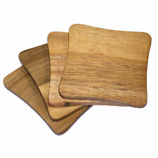Set of 4 Thick Acacia Wooden Drinks Coasters Mats Coffee Table Mug Cup Glass