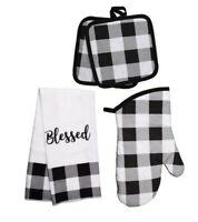 """Blessed"" Buffalo Check Black White Kitchen Linens Towel, Oven Mitt, Pot Holder"