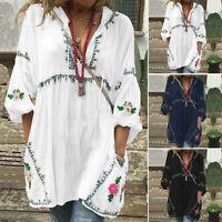 Damen V Neck Half Arm Bluse Shirts Blume Bohemian Retro Lose Hemd Tops Minikleid