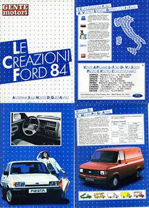 Depliant Le Creazioni Auto Furgoni Novità FORD 1984 Fiesta Sierra Orion Transit