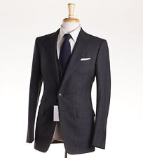 NWT $5420 TOM FORD Charcoal Gray Stripe 3-Piece Wool Suit 38 R (Eu 48) O'Connor