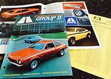 NOS Shelby Autosport Pinto Group II brochure & spec sheet & price sheet 1971.
