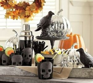 NEW Pottery Barn Skull DOF Double Old Fashioned Glass Set Halloween Gothic Punk