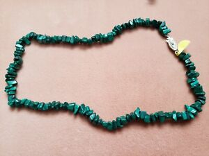 """Hand- Made GENUINE * MALACHITE * NECKLACE 17"""" Long - Made in USA"""