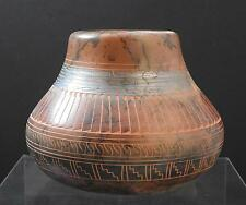 Native American Indian Etched Horsehair Pottery Vase Theresa Whitegoat Navajo W6