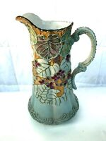 Hand Painted 24KT Gold Leaf France Floral Water Pitcher Colorful