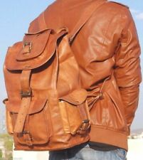 Genuine Brown Leather Backpack Rucksack Travel Bag For Men's and Women's.