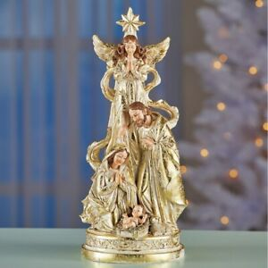 Gold Accented Nativity Scene Christmas Tabletop Centerpiece Statue