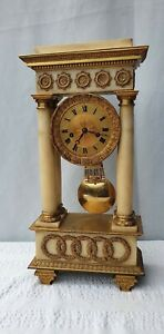 LARGE FRENCH MARBLE AND ORMOLU PORTICO MANTLE CLOCK