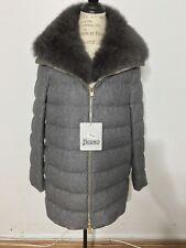 NWT Women's HERNO Cashmere Silk A-Shape Fox Fur Puffer Coat, Size 48, XXL, Grey