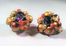 Vintage Hong Kong Earrings Clip On Bead Clusters Copper Brass Tones Earthy Brown