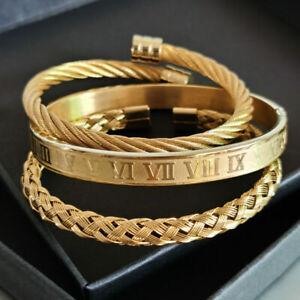3Pcs/set Luxury Men's Bracelets Gold Stainless Steel Roman Number Jewelry Gift