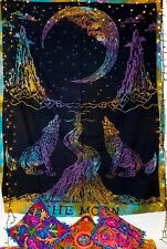 Twin Indian Tapestry Mandala WallHanging Throw Bed Tapestries Wolf Moon Multi