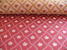 7.8Y SCALAMANDRE La Favorita Treillage PETITE ROSE TRELLIS LAMPAS RED  GOLD #931