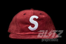 SUPREME SUEDE S LOGO 6-PANEL CAP HAT BURGUNDY FW16 2016 HAT