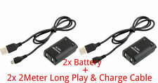 2X 4800mAh Battery Pack+ 2Meter Long Charger Cable Xbox 360 Wireless Controller