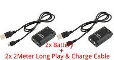 2x 4800mah Batería + 2meter largo Cable Cargador Xbox 360 Wireless Controller