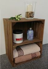 Large Wooden Apple Crate Shelf Vintage Style Handmade Display Unit Brown