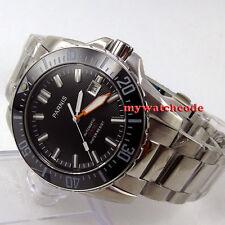 43mm Parnis black dial Sapphire glass 200m Ceramic Bezel automatic mens watch137