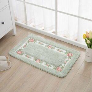 Non-Slip Home Bathroom Carpets Floor Mats Eco-Friendly Floral Pattern Fiber Rugs