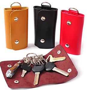 Women Men PU Leather Keychain Key Ring Car Key Wallets Bag Case Holder Organizer