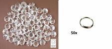 50 St Kristall Glas Octagons 12mm Lüster Kronleuchter + 50 Ringe silberfarben