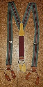 VINTAGE COACH GREEN BURGUNDY STRIPE FABRIC SUSPENDERS BRACES LEATHER FITTINGS