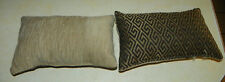 Pair of Black Gold Abstract Print Decorative Throw Pillows 11 x 7