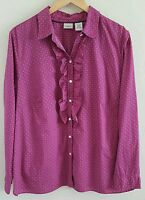 L L Bean Women's Cotton Shirt Size 1X Pink Purple Geometric 100% Long Sleeves