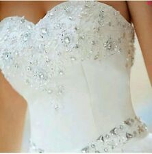 UK New white Strapless A Line Sequins Bridal Wedding Dresses Size 16 Clearance