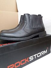 """ROCKSTORM """"RUSTY"""" Black Leather Look Men's Ankle Boots Size UK 7"""