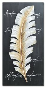 Metal Feather On Canvas Hand Painting