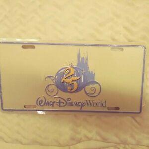 Walt Disney World 25th Anniversary License Plate NEW in shrinkwrap 1996 CMO
