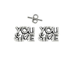 Silver .925 Oxidized   Made in Usa You and Me Words Pin Earring Sterling