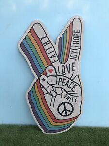 Giant MDF Peace Hand Sign Festival Love Rainbow LGBTQ+ Wedding Hippie Retro