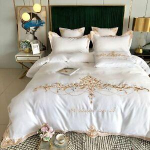 Silky Egyptian Cotton Bedding Set King Queen Bedding Set Embroidery Duvet Cover